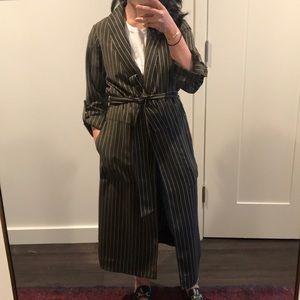 Olive Green Striped Robe Coat
